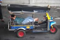 Sleeping in a tuk-tuk